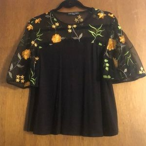 Sheer neckline blouse